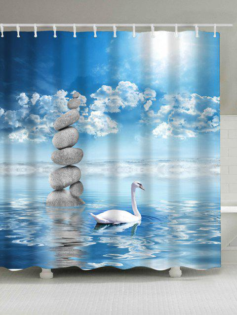 Waterproof Swan In The Lake Print Shower Curtain