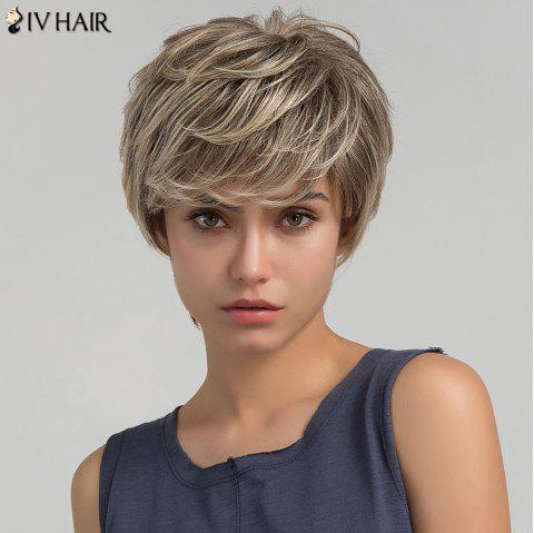 Siv Hair Short Colormix Layered Side Bang Shaggy Straight Human Hair Wig - COLORMIX