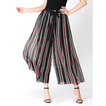 Chiffon Stripe Wide Leg Pants with Lace Lining
