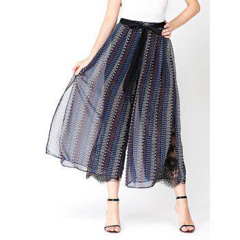 Chiffon Print Wide Leg Pants with Lace Lining