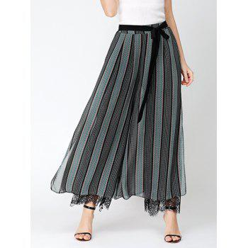 Chiffon Wide Leg Pants with Lace Lining