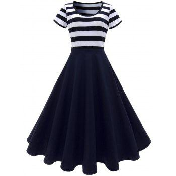 Scoop Neck Stripe Midi Vintage Dress