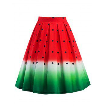 Knee Length Watermelon Print A Line Skirt