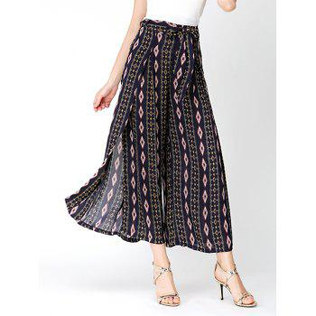 Bohemian Rhombus High Split Wide Leg Pants