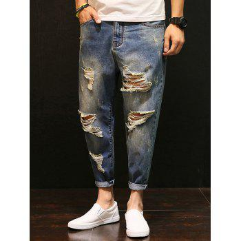 Faded Distressed Low-Slung Crotch Nine Minutes of Jeans