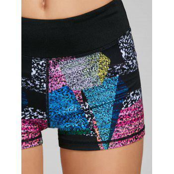 Color Block Printed Mini Fitness Tights - BLACK BLACK
