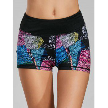 Color Block Printed Mini Fitness Tights