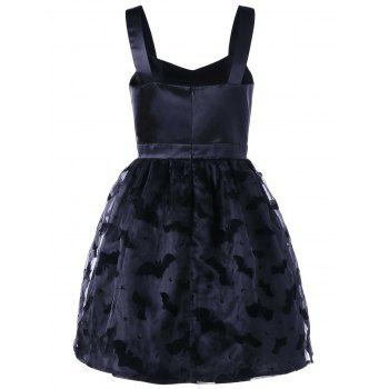 Bat Pattern Sweetheart Neck Party Dress - M M