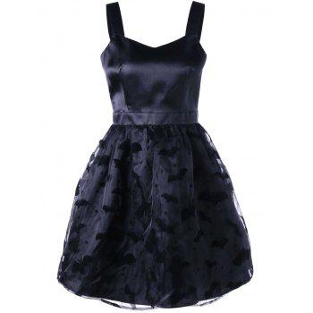 Bat Pattern Sweetheart Neck Party Dress