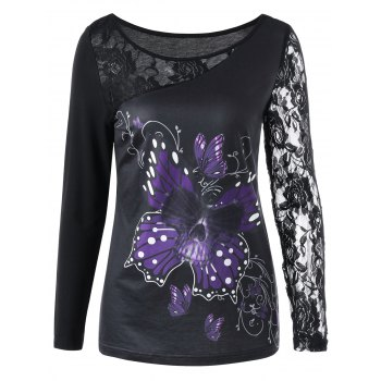 Lace Insert Butterfly Print T-shirt