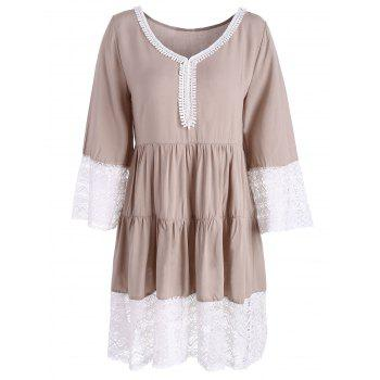 Lace Panel Long Sleeve Casual Dress