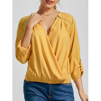 Zipper V Neck Wrap Blouse