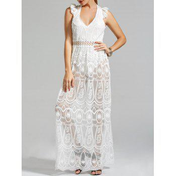 Low Cut Lace Crochet Panel Sheer Jumpsuit