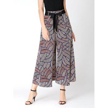 Print Bowknot Belted Wide Leg Pants