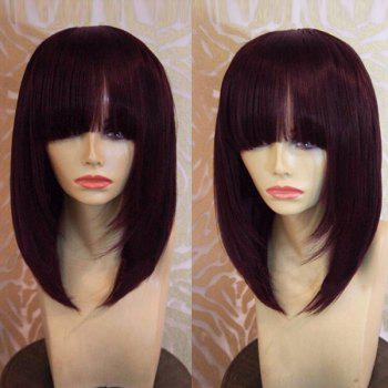 Medium Straight Bob Neat Bang Synthetic Wig