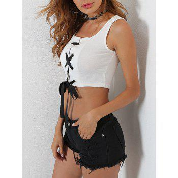 Ribbed Lace Up Crop Tank Top - S S