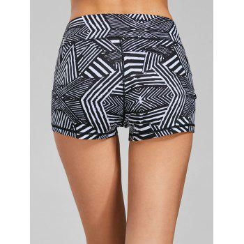 Line Geometric Pattern Mini Sports Leggings - L L