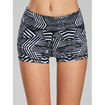 Line Geometric Pattern Mini Sports Leggings - BLACK WHITE L