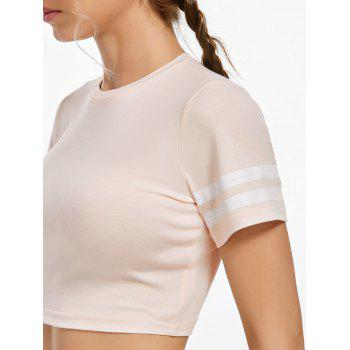 Active Contrast Crew Neck Crop T-shirt - LIGHT APRICOT PINK LIGHT APRICOT PINK