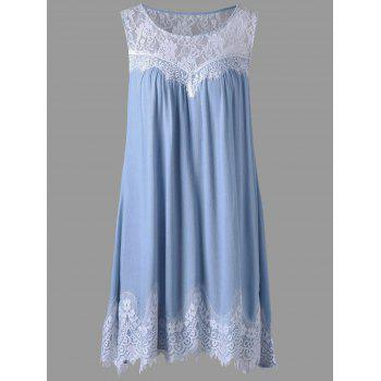 Sheer Lace Yoke Swing Tank Dress