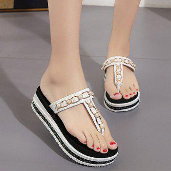 Platform Beaded T Strap Slippers
