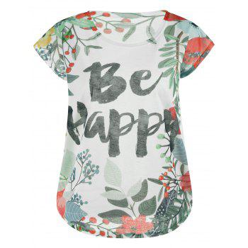 Be Happy Graphic Floral T-shirt
