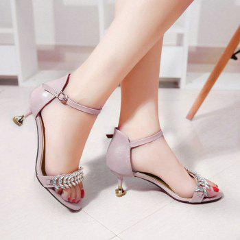 Rhinestone Ankle Strap Heeled Sandals