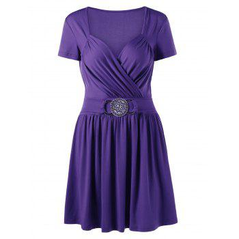 Crossover Draped Front Jersey Skater Dress