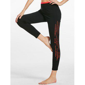 Side Cutout Two Tone Capri Sports  Leggings