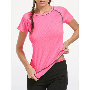 Breathable Raglan Sleeve Sports T-shirt - PINK M