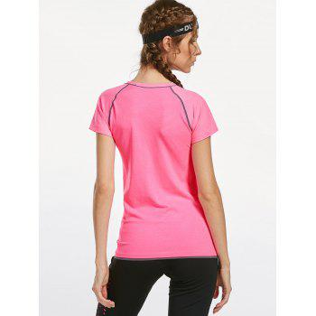 Breathable Raglan Sleeve Sports T-shirt - PINK PINK