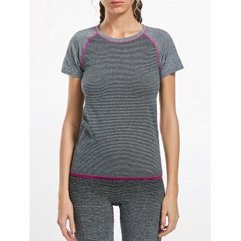 Breathable Raglan Sleeve Sports T-shirt - GRAY L