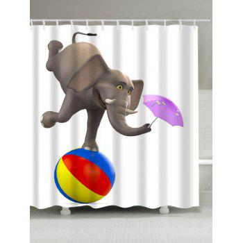 Elephant Playing Ball and Umbrella Print Shower Curtain
