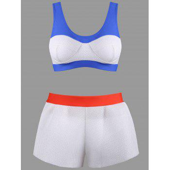 Mesh Color Block Boyshorts Bikini Set