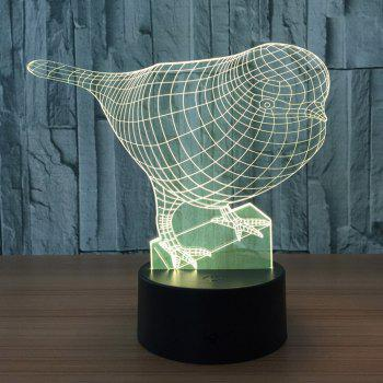 3D Color Changing Bird Shape Touch Night Light -  TRANSPARENT