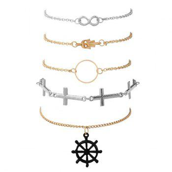 Infinite Crucifix Hand Circle Rudder Bracelet Set