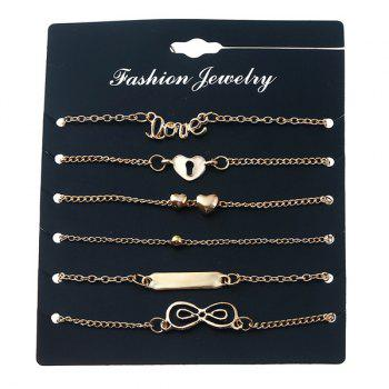 Love Heart Infinite Bead Bar Bracelet Set - GOLDEN