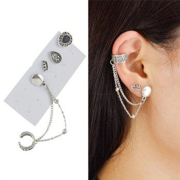 Ear Cuff with Vintage Teardrop Stud Earring Set
