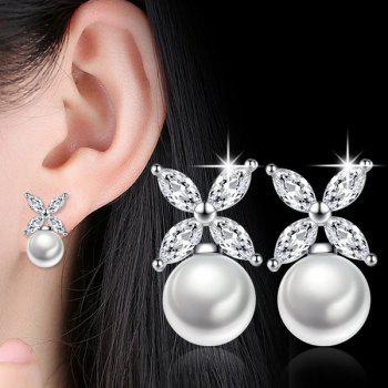 Faux Pearl Crystal Floral Earrings