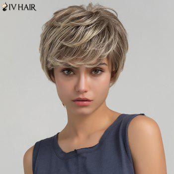 Siv Hair Short Colormix Layered Side Bang Shaggy Straight Human Hair Wig