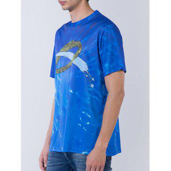 Abstract Graphic Tie Dye Print Short Sleeve T-shirt - BLUE M