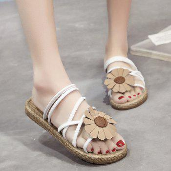 Flower Cross Strap Flat Heel Slippers