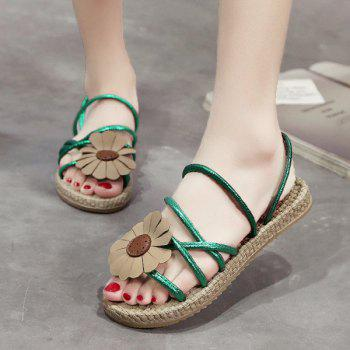 Flower Cross Strap Flat Heel Slippers - GREEN 40