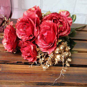 Home Living Room Decoration Vintage Artificial Flowers - RED