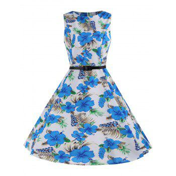 Printed Belted Sleeveless A Line Dress