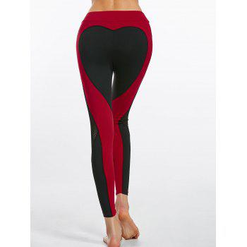 Heart Pattern Workout Leggings with Mesh Panel