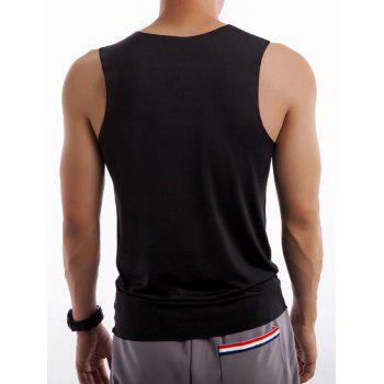 Round Neck Quick Dry Rayon Fitted Tank Top - BLACK 3XL