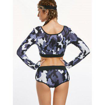 Camouflage Long Sleeve Crop Top and Briefs Workout Wear - M M