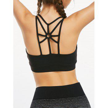 Back Cutout Strappy Sports Padded Bra - BLACK BLACK