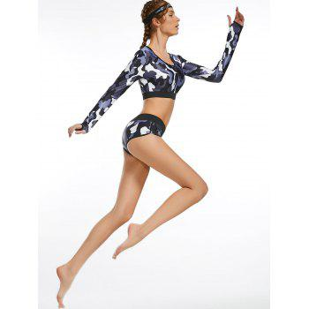 Camouflage Long Sleeve Crop Top and Briefs Workout Wear - ACU CAMOUFLAGE ACU CAMOUFLAGE